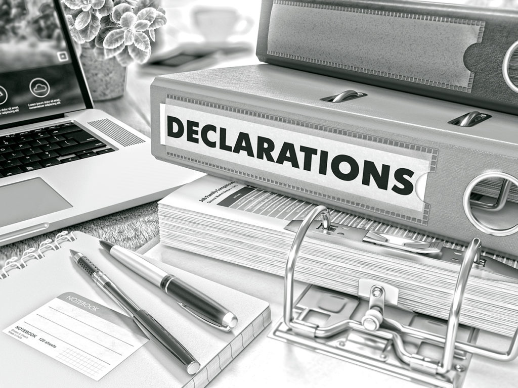 Folders for customs declaration